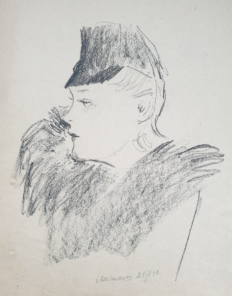 lot 2. «A woman in a hat»