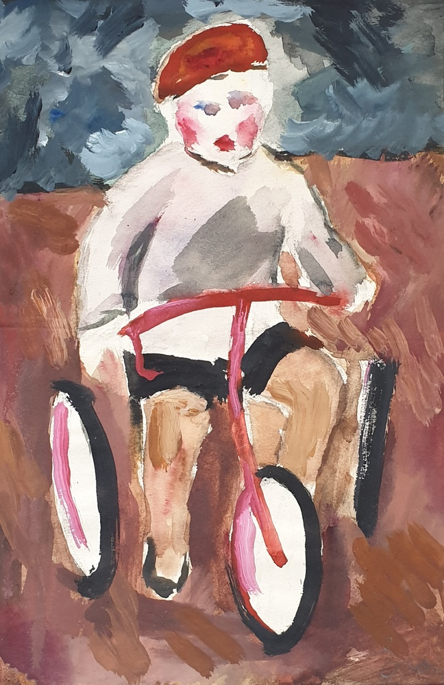 Sketch for the painting «Alyosha on a bicycle»