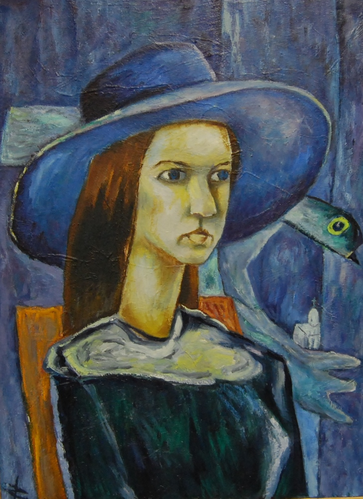 «Woman in a blue hat», Kondratyev Dmitry Sergeyevich